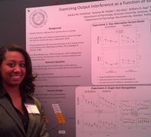 Student presenting her research poster.